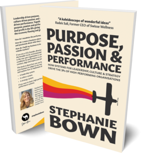 """Book cover """"Purpose, Passion and Performance - Book by Stephanie Bown"""""""